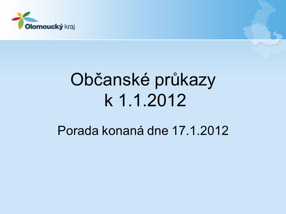 Občanské průkazy k 1.1.2012 Porada konaná dne 17.1.2012