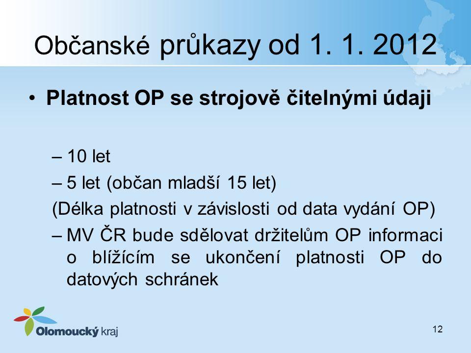 Občanské průkazy od 1. 1. 2012 Platnost OP se strojově čitelnými údaji