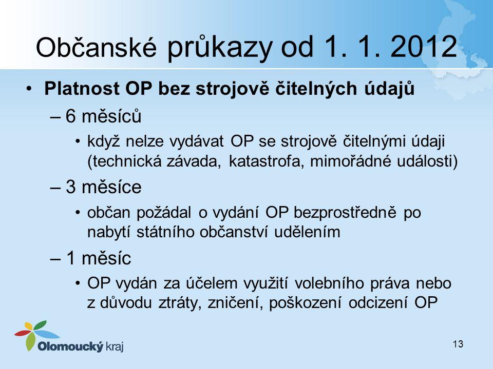 Občanské průkazy od 1. 1. 2012 Platnost OP bez strojově čitelných údajů. 6 měsíců.