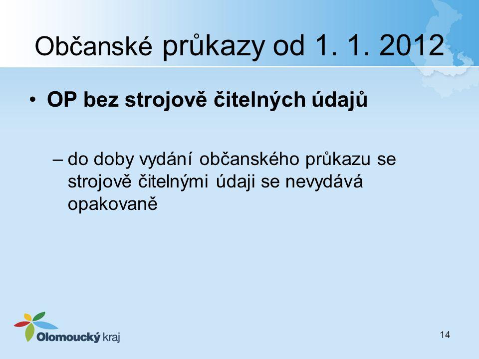 Občanské průkazy od 1. 1. 2012 OP bez strojově čitelných údajů