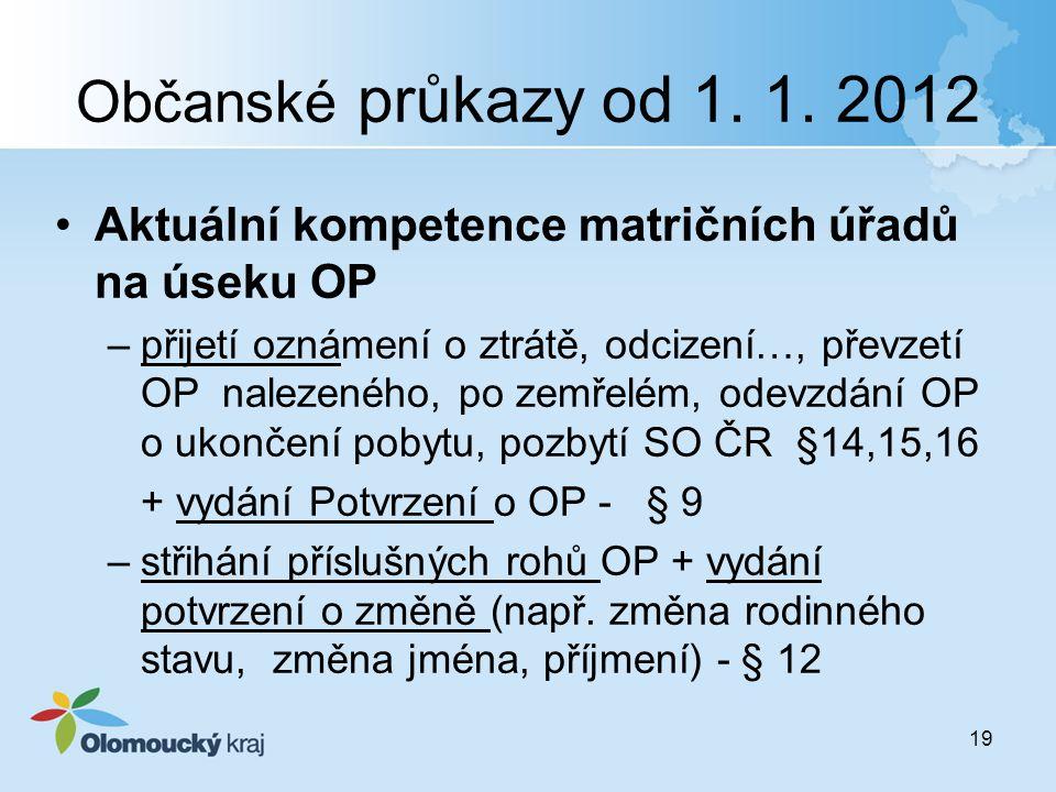 Občanské průkazy od 1. 1. 2012 Aktuální kompetence matričních úřadů na úseku OP.