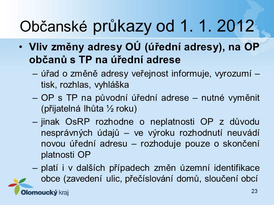 Občanské průkazy od 1. 1. 2012 Vliv změny adresy OÚ (úřední adresy), na OP občanů s TP na úřední adrese.