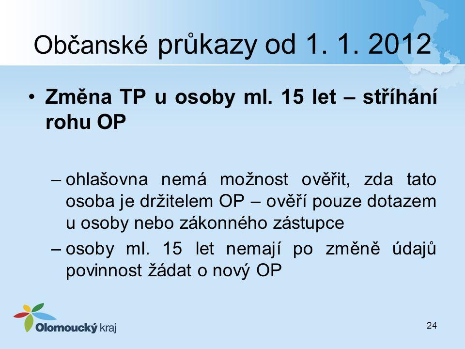 Občanské průkazy od 1. 1. 2012 Změna TP u osoby ml. 15 let – stříhání rohu OP.