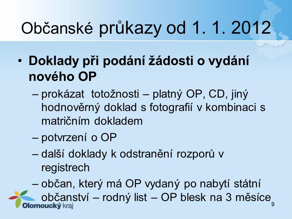 Občanské průkazy od 1. 1. 2012 Doklady při podání žádosti o vydání nového OP.