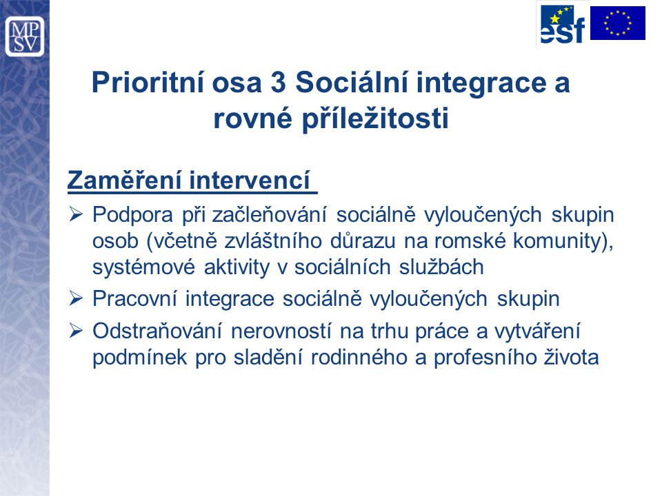 Prioritní osa 3 Sociální integrace a rovné příležitosti