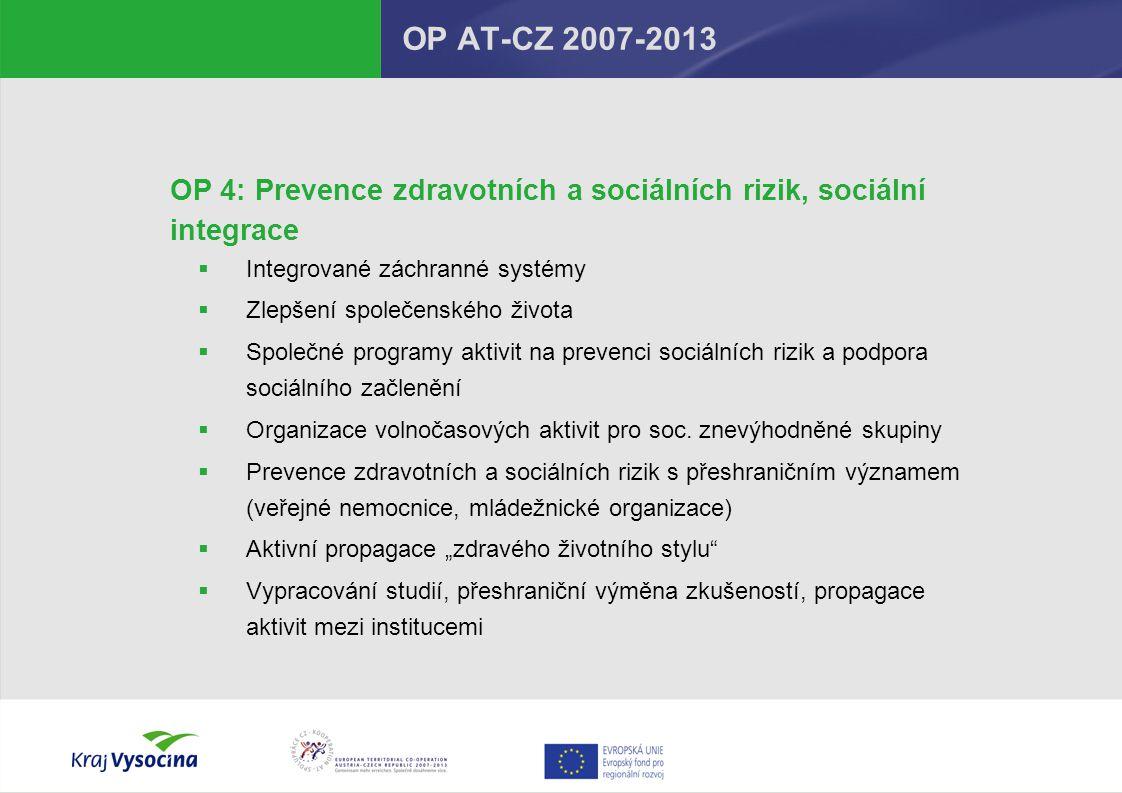 OP AT-CZ 2007-2013 OP 4: Prevence zdravotních a sociálních rizik, sociální integrace. Integrované záchranné systémy.