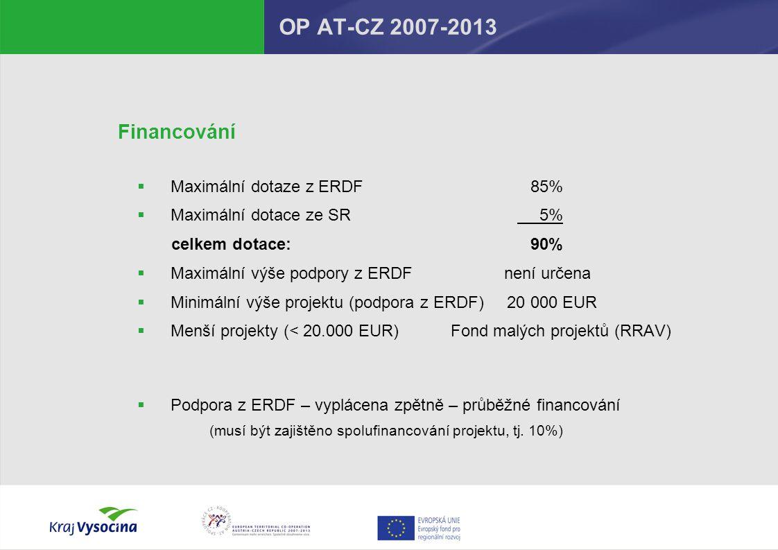 OP AT-CZ 2007-2013 Financování Maximální dotaze z ERDF 85%