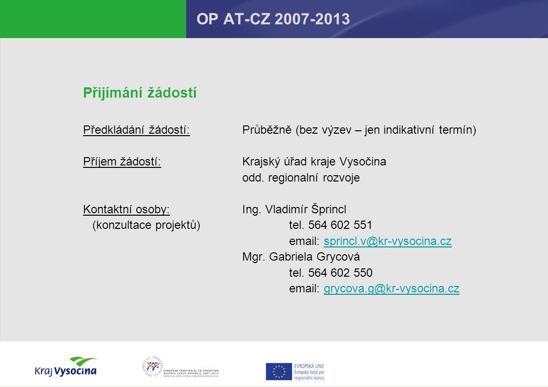 OP AT-CZ 2007-2013 Přijímání žádostí