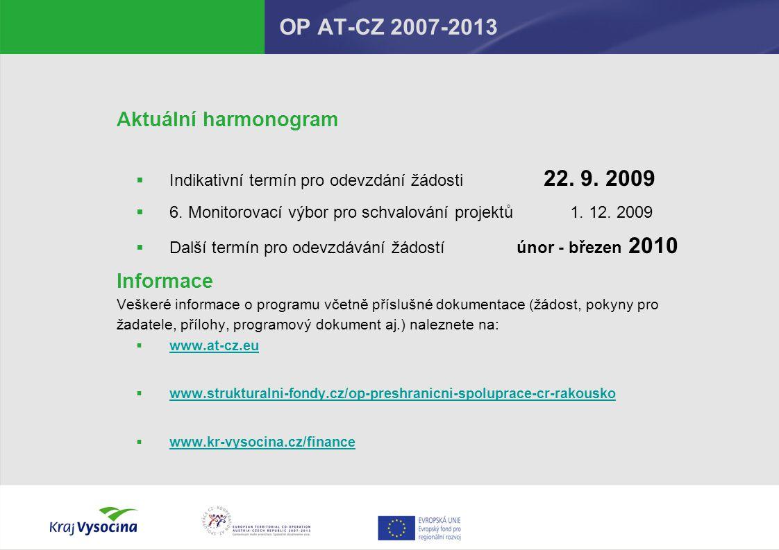 OP AT-CZ 2007-2013 Aktuální harmonogram Informace