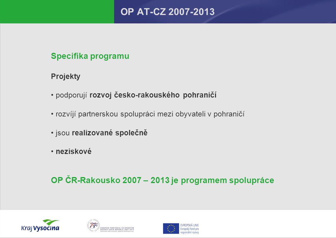 OP AT-CZ 2007-2013 Specifika programu