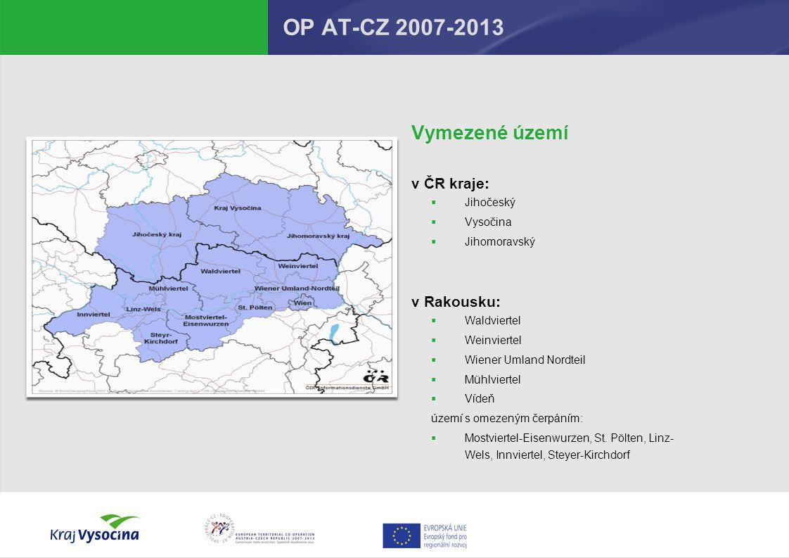 OP AT-CZ 2007-2013 Vymezené území v ČR kraje: v Rakousku: Jihočeský