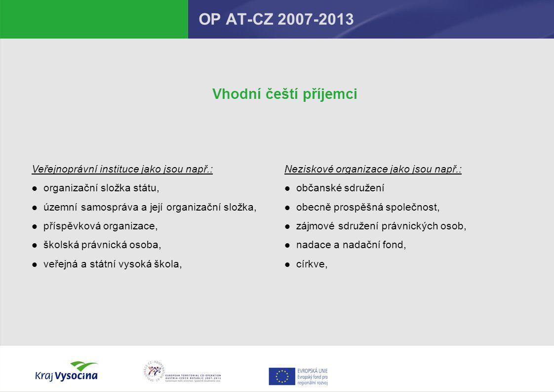OP AT-CZ 2007-2013 Vhodní čeští příjemci
