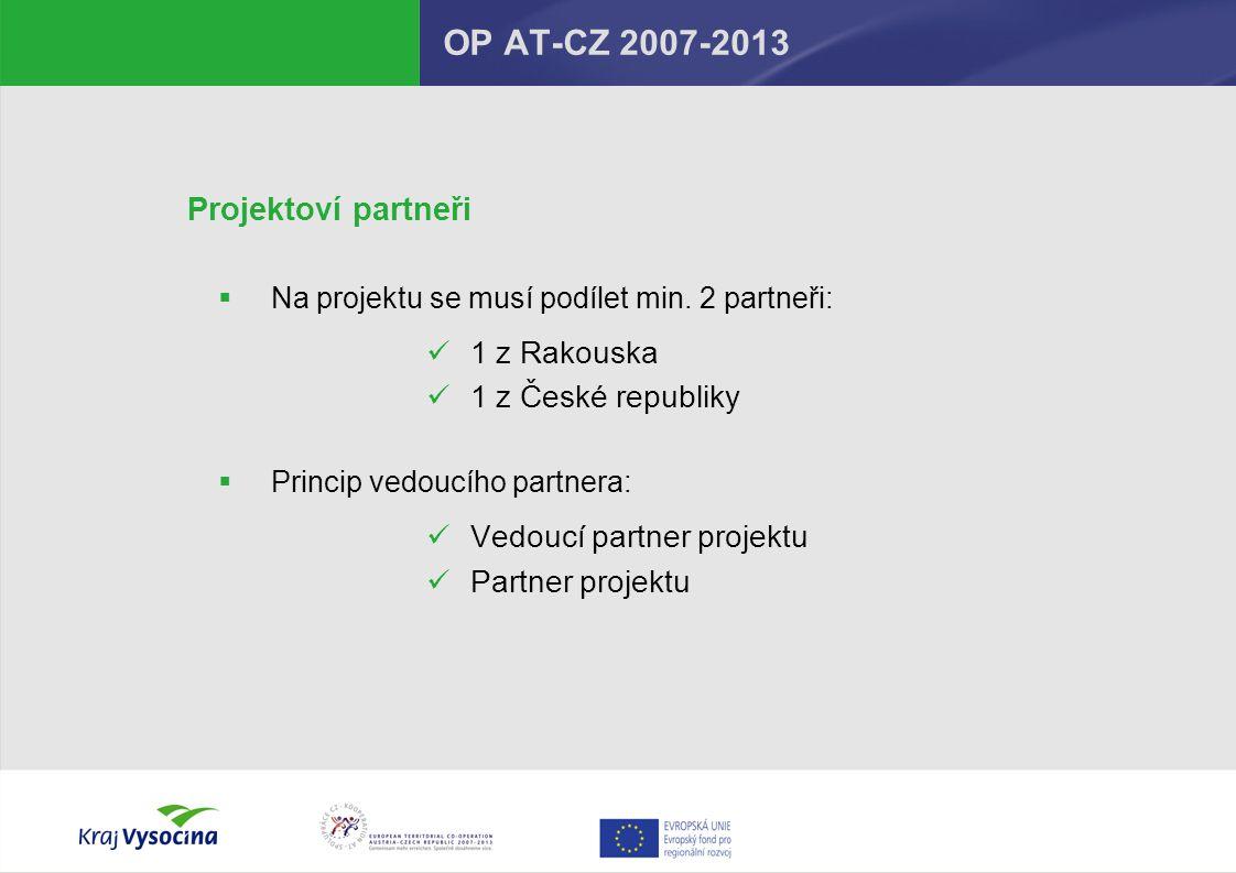 OP AT-CZ 2007-2013 Projektoví partneři 1 z Rakouska