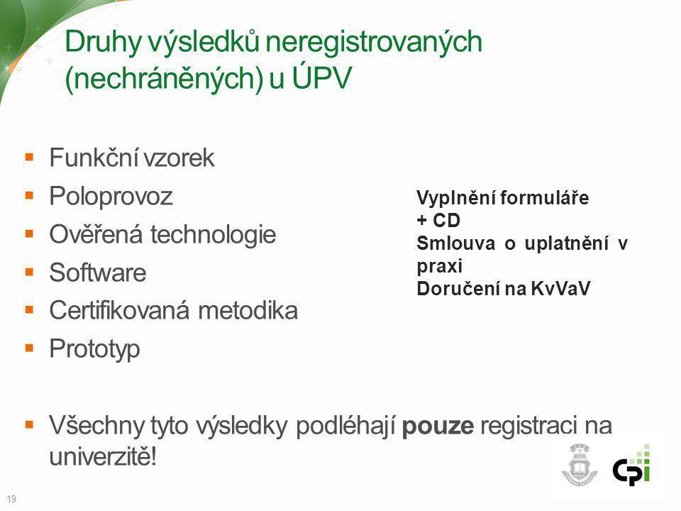 Druhy výsledků neregistrovaných (nechráněných) u ÚPV