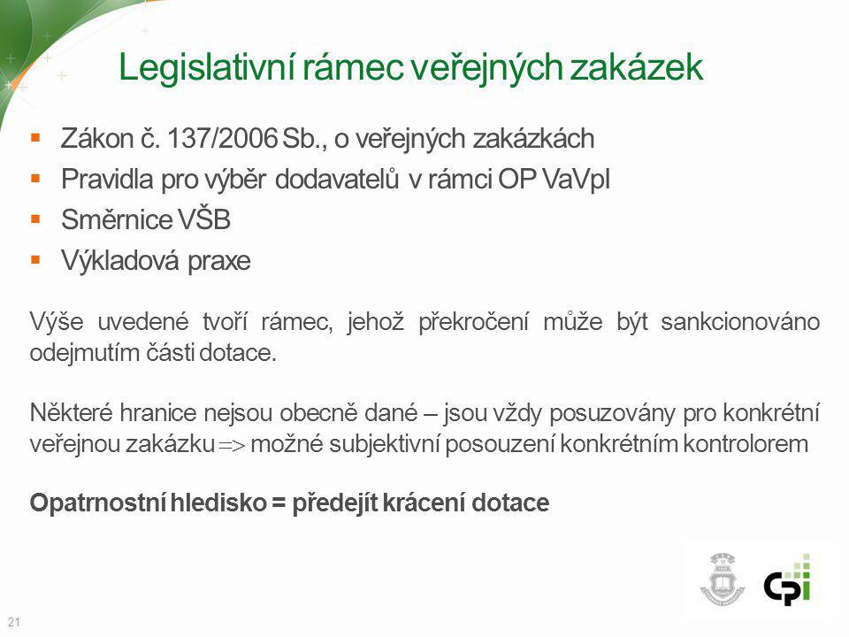 Legislativní rámec veřejných zakázek