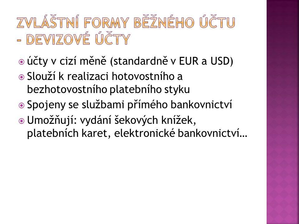 Zvláštní formy běžného účtu - devizové účty