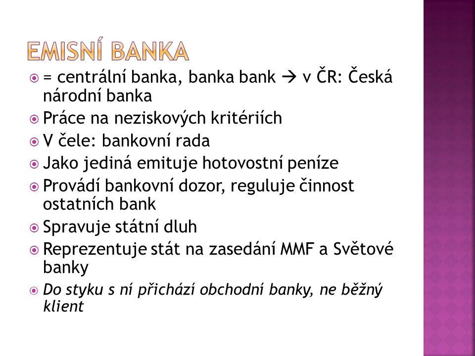 Emisní banka = centrální banka, banka bank  v ČR: Česká národní banka
