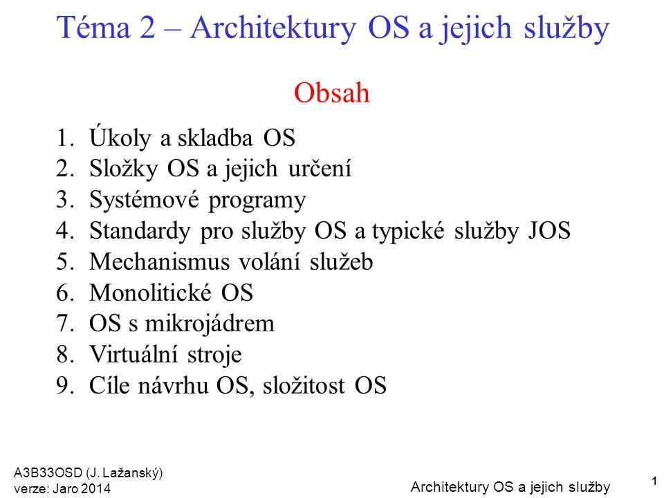 Téma 2 – Architektury OS a jejich služby