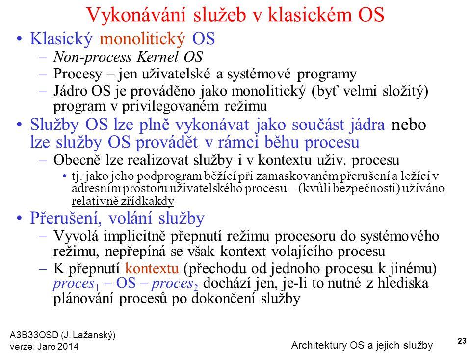 Vykonávání služeb v klasickém OS