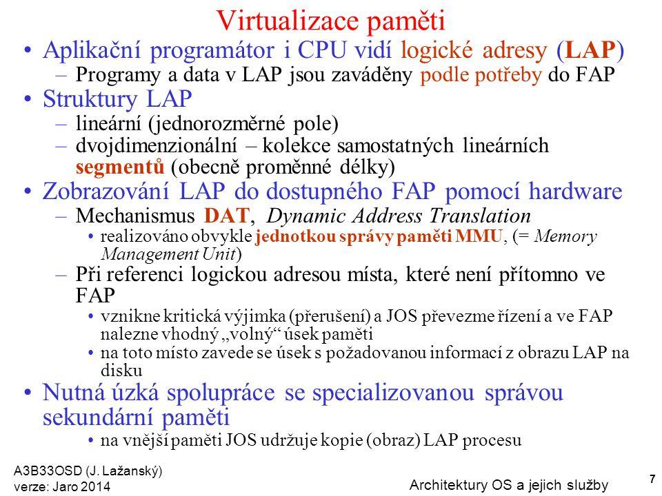 Virtualizace paměti Aplikační programátor i CPU vidí logické adresy (LAP) Programy a data v LAP jsou zaváděny podle potřeby do FAP.