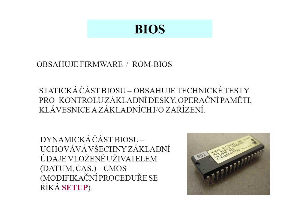 BIOS OBSAHUJE FIRMWARE / ROM-BIOS