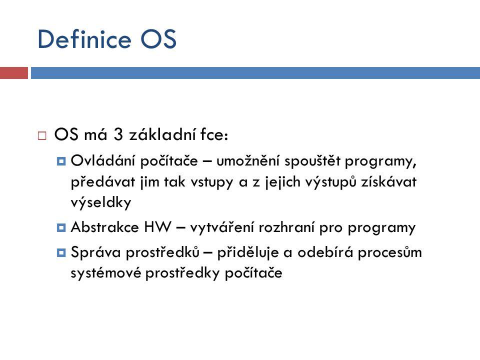 Definice OS OS má 3 základní fce: