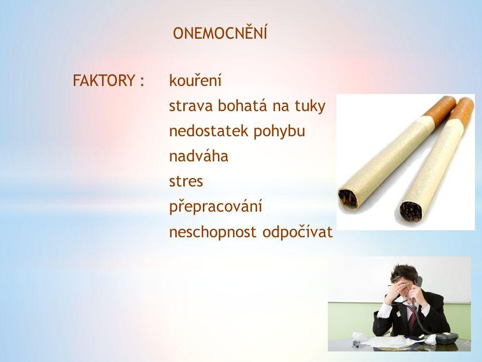 ONEMOCNĚNÍ FAKTORY : kouření. strava bohatá na tuky. nedostatek pohybu. nadváha. stres. přepracování.