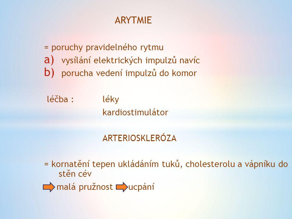 ARYTMIE = poruchy pravidelného rytmu