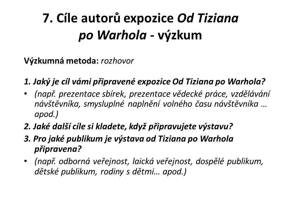 7. Cíle autorů expozice Od Tiziana po Warhola - výzkum
