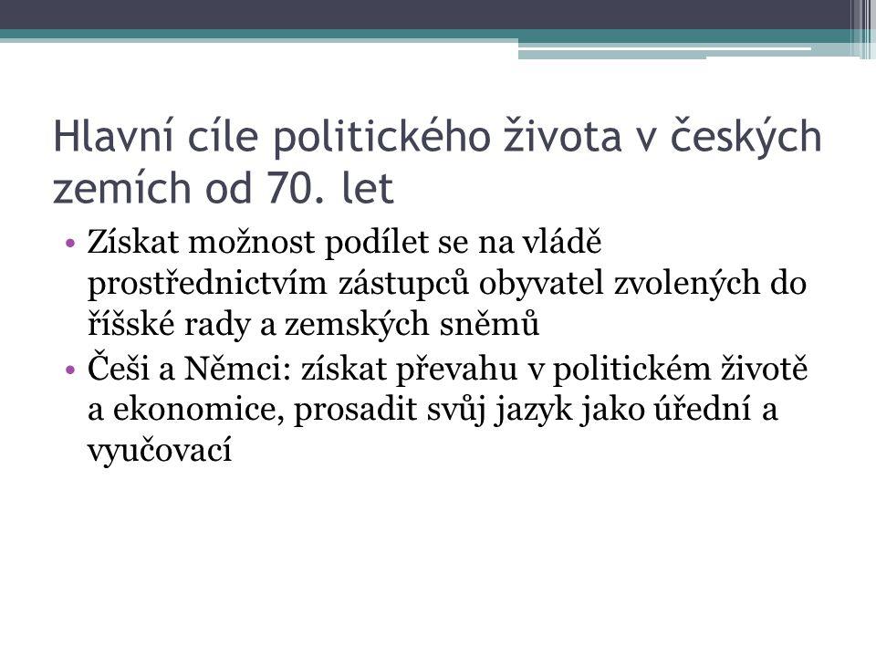 Hlavní cíle politického života v českých zemích od 70. let