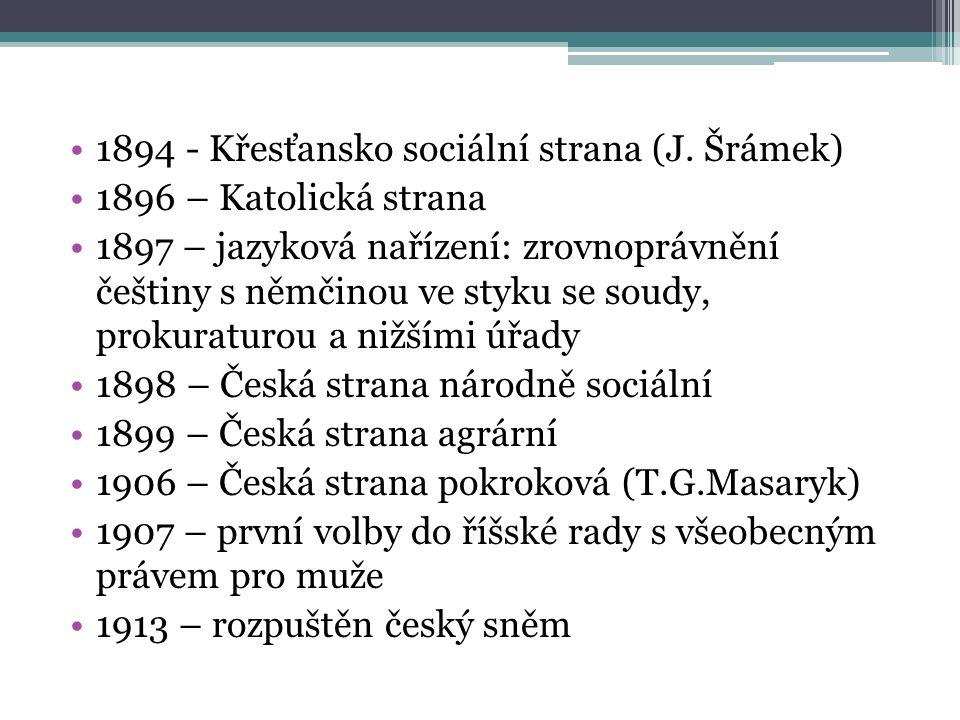 1894 - Křesťansko sociální strana (J. Šrámek)
