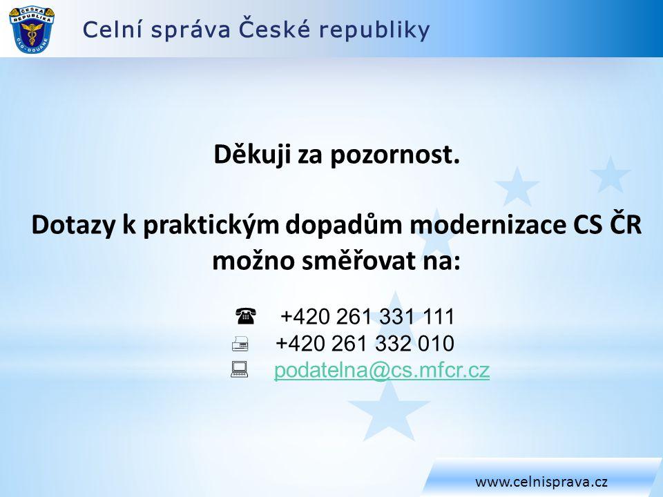 Dotazy k praktickým dopadům modernizace CS ČR možno směřovat na: