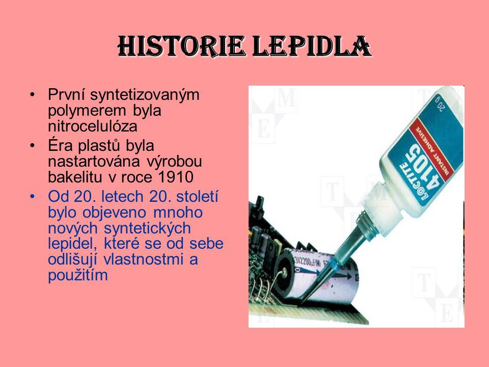 HISTORIE LEPIDLA První syntetizovaným polymerem byla nitrocelulóza