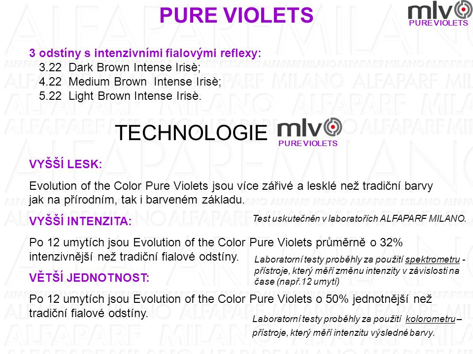 PURE VIOLETS TECHNOLOGIE 3 odstíny s intenzivními fialovými reflexy:
