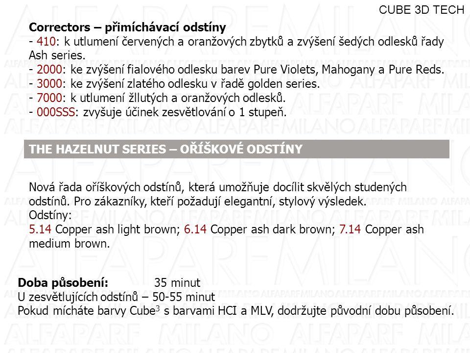 CUBE 3D TECH Correctors – přimíchávací odstíny. - 410: k utlumení červených a oranžových zbytků a zvýšení šedých odlesků řady Ash series.