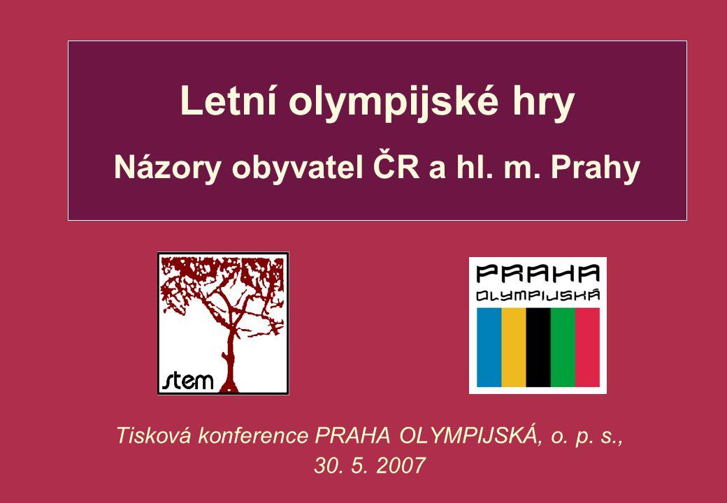 Letní olympijské hry Názory obyvatel ČR a hl. m. Prahy