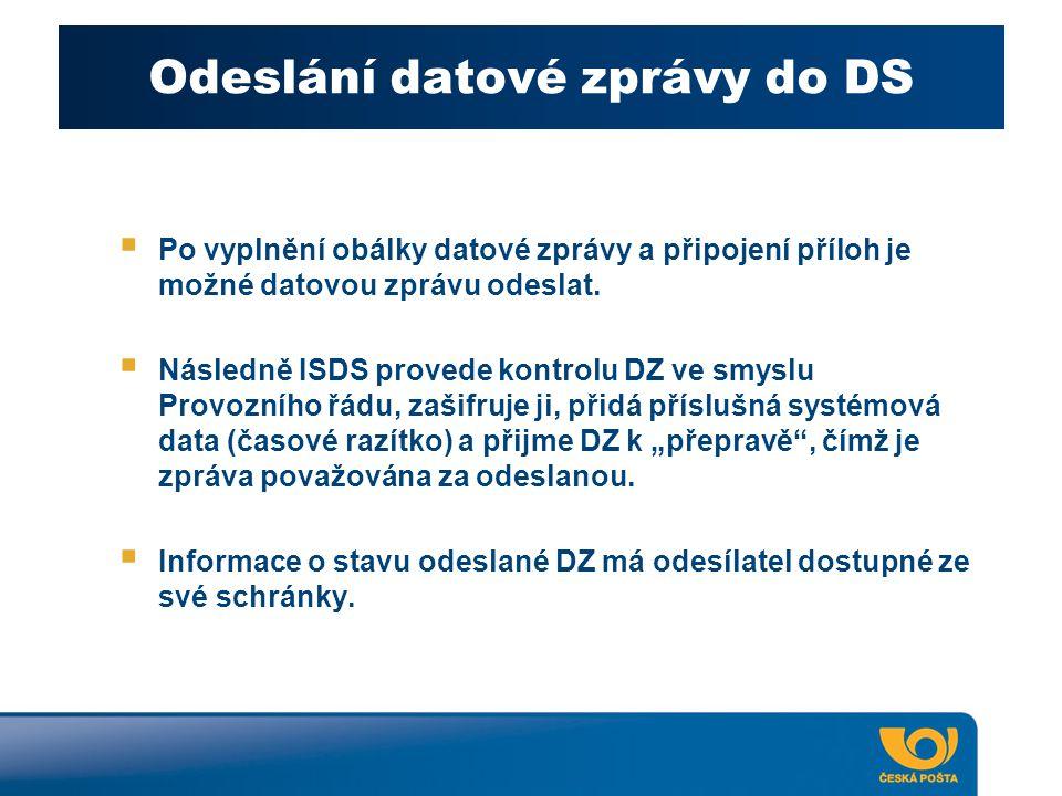Odeslání datové zprávy do DS