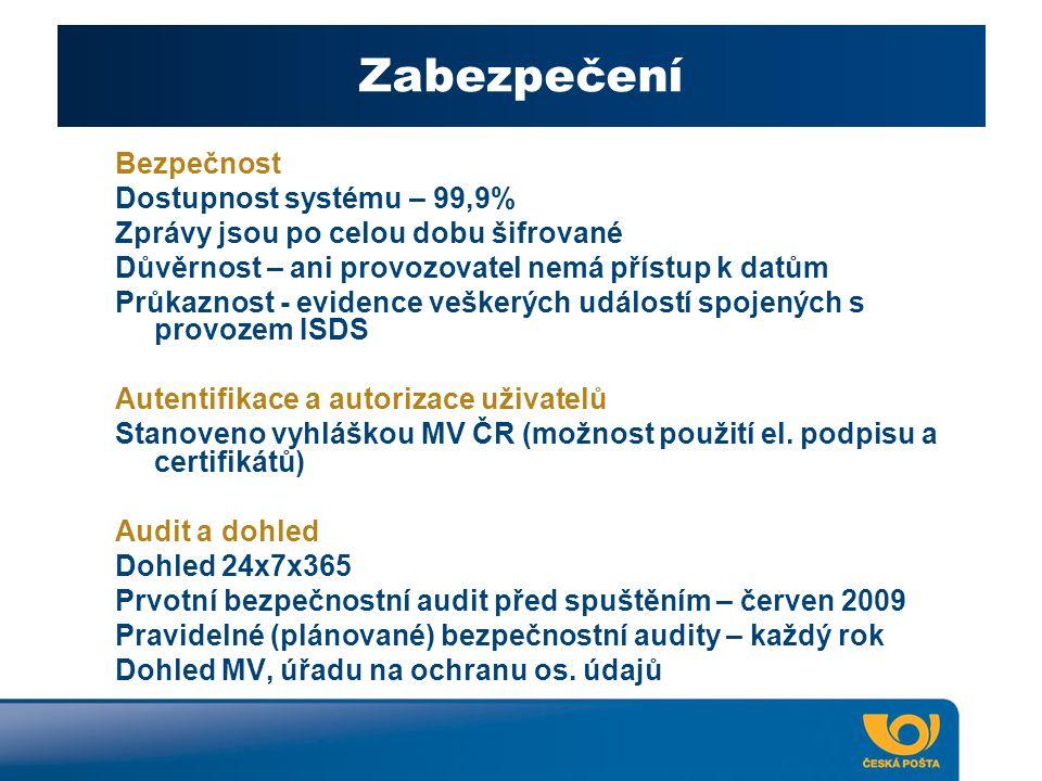 Zabezpečení Bezpečnost Dostupnost systému – 99,9%