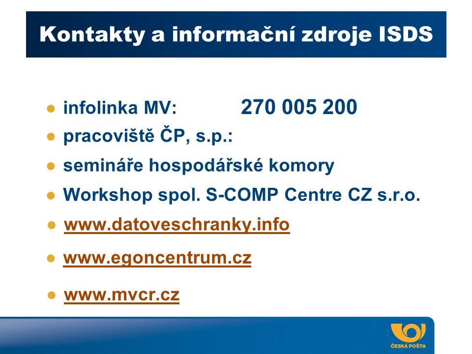 Kontakty a informační zdroje ISDS