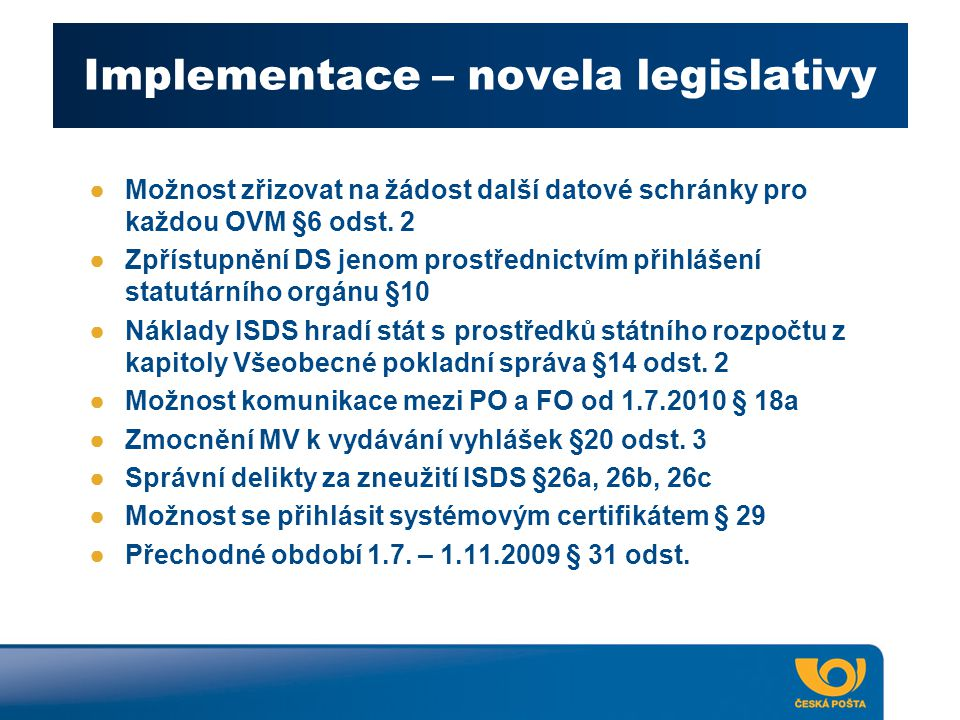 Implementace – novela legislativy