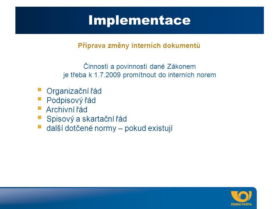 Příprava změny interních dokumentů