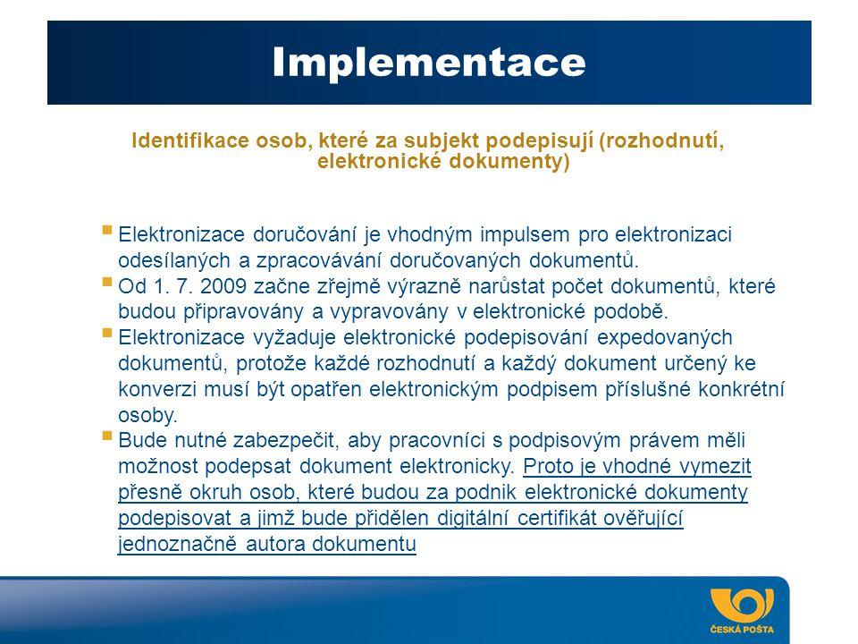 Implementace Identifikace osob, které za subjekt podepisují (rozhodnutí, elektronické dokumenty)