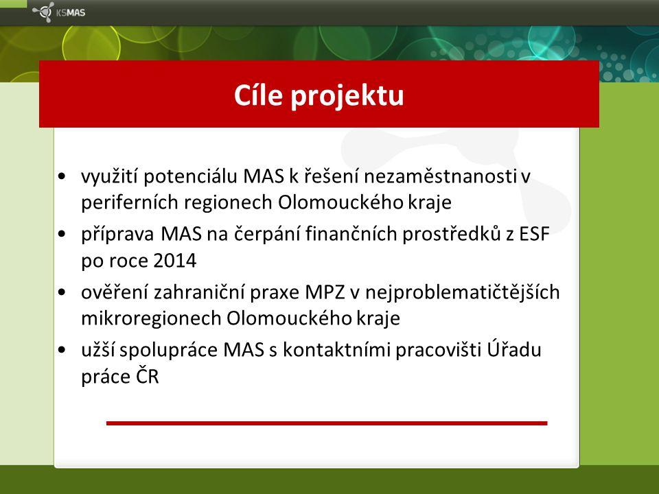 Cíle projektu využití potenciálu MAS k řešení nezaměstnanosti v periferních regionech Olomouckého kraje.