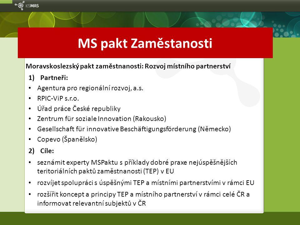 MS pakt Zaměstanosti Moravskoslezský pakt zaměstnanosti: Rozvoj místního partnerství. Partneři: Agentura pro regionální rozvoj, a.s.