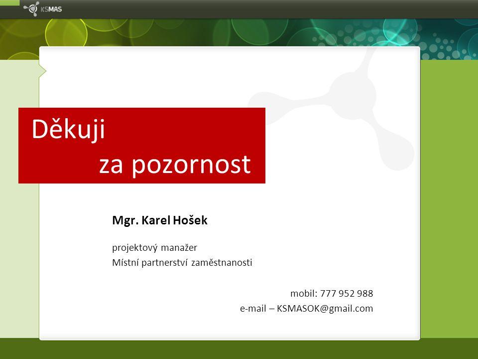Děkuji za pozornost Mgr. Karel Hošek projektový manažer
