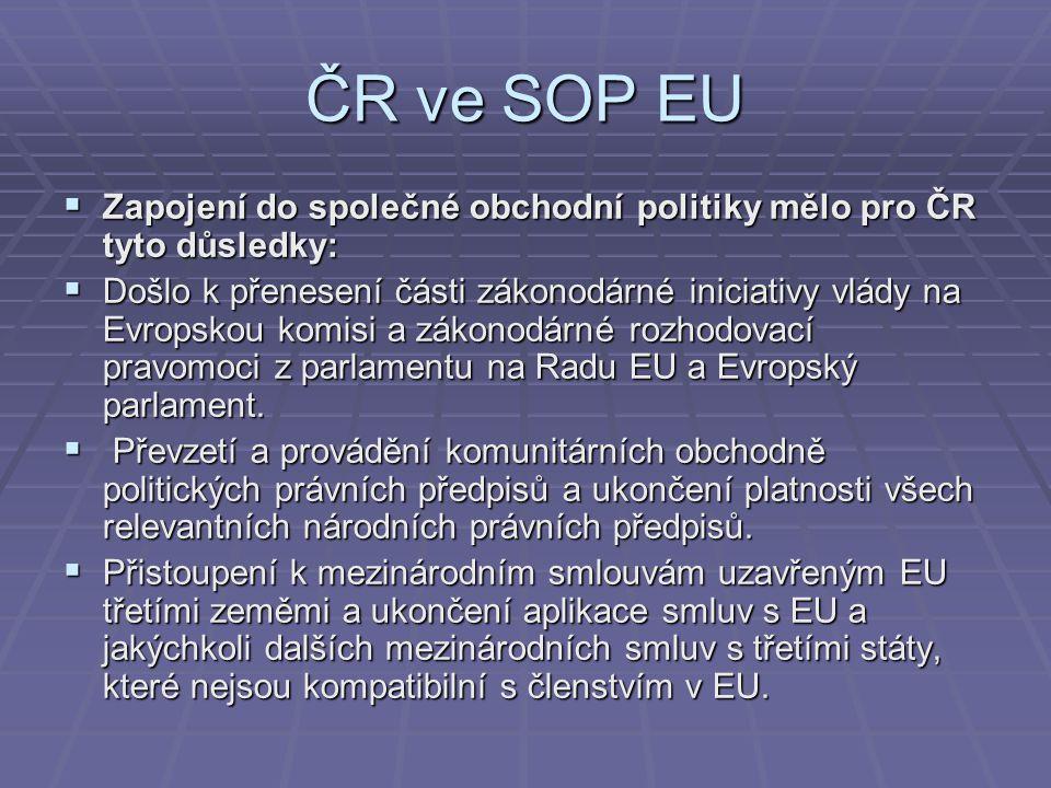 ČR ve SOP EU Zapojení do společné obchodní politiky mělo pro ČR tyto důsledky: