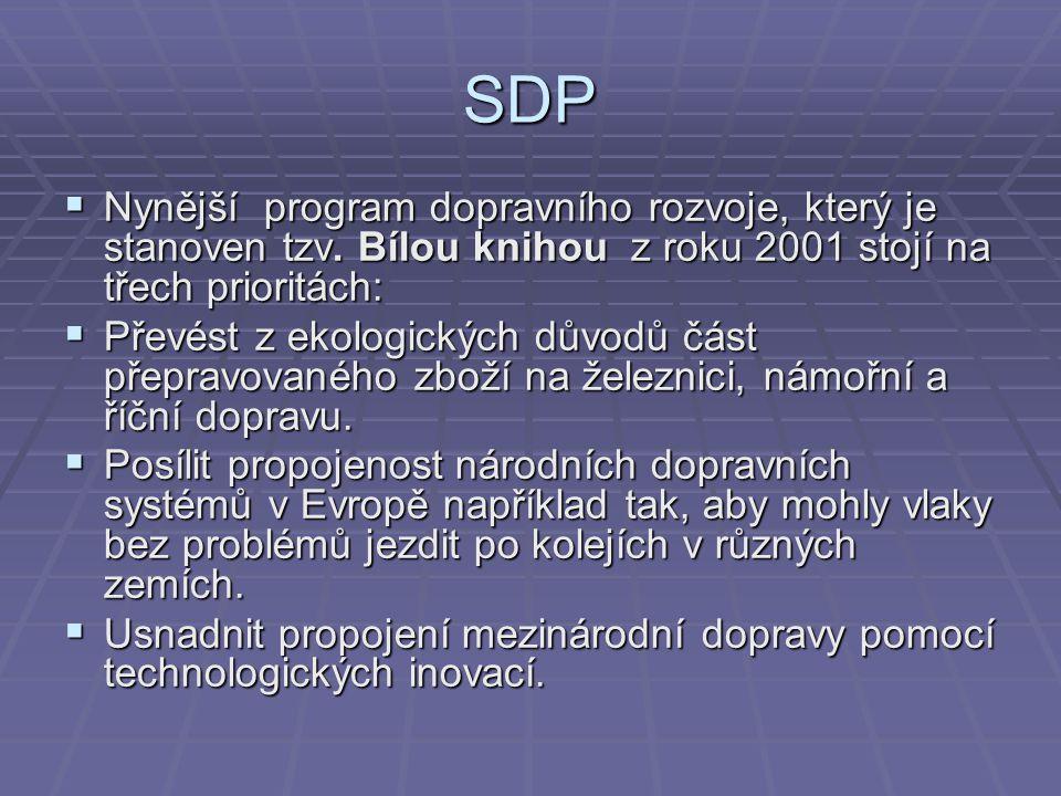 SDP Nynější program dopravního rozvoje, který je stanoven tzv. Bílou knihou z roku 2001 stojí na třech prioritách: