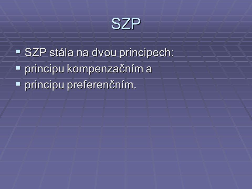 SZP SZP stála na dvou principech: principu kompenzačním a