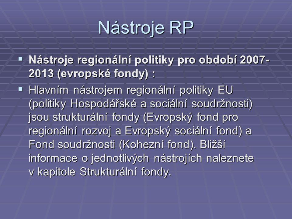 Nástroje RP Nástroje regionální politiky pro období 2007-2013 (evropské fondy) :