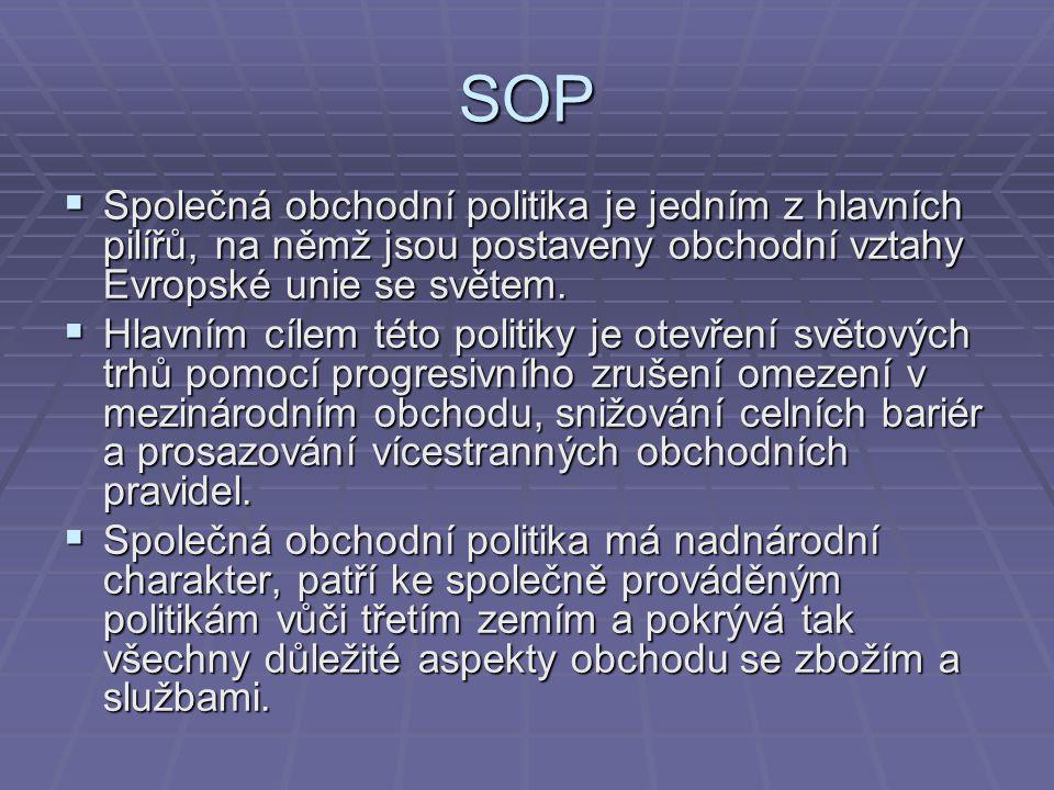 SOP Společná obchodní politika je jedním z hlavních pilířů, na němž jsou postaveny obchodní vztahy Evropské unie se světem.